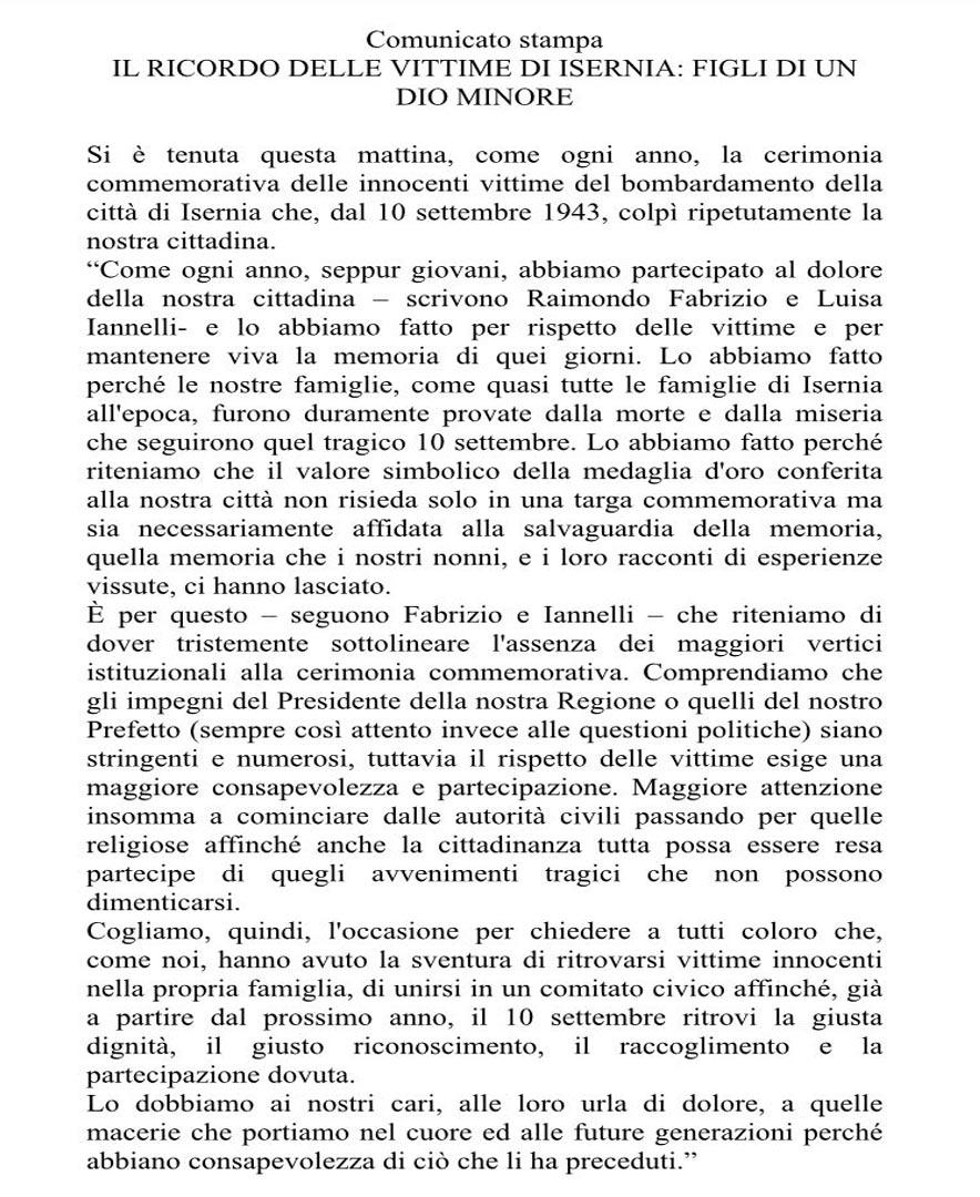 Isernia - Commemorazione 74° anniversario X settembre con polemiche. I Consiglieri Fabrizio e Iannelli  stigmatizzano l'assenza dei massimi vertici istituzionali