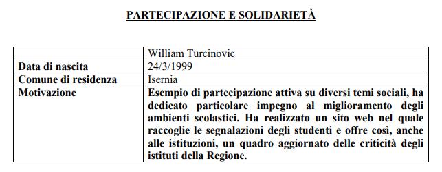 Il molisano William Turcinovic riceve da Mattarella l'Attestato e il distintivo d'onore di 'Alfiere della Repubblica'