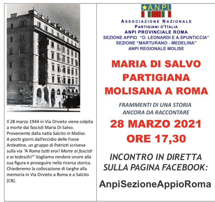 FuturoMolise   28.03.1944 – 28.03.2021 ANNIVERSARIO DELL'ASSASSINIO DELLA  PARTIGIANA MOLISANA MARIA DI SALVO.